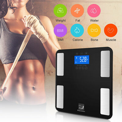 400lb/180kg Digital Touch Body Fat Scale BMI Water Bone Calories Bathroom Weight