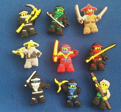 9 Pc Lego Ninjago Ninjas Movies Jibbitz Shoe Charms Toppers Party Favors Bands