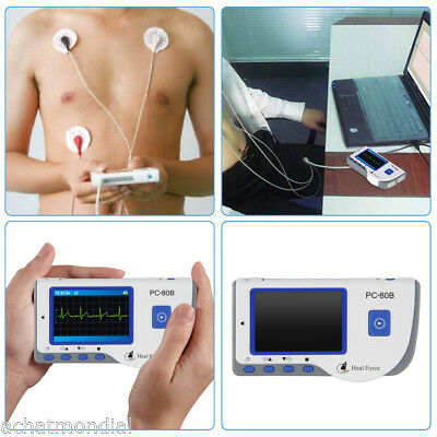 Portable Heal Force ECG Heart Monitor FDA Color LCD+Lead Cable+50 Electrode Pads