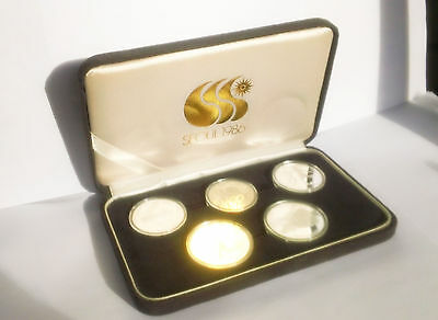 Rare Korea 1986 10Th Asian Games Commemorative 5 Silver Coins Proof Set