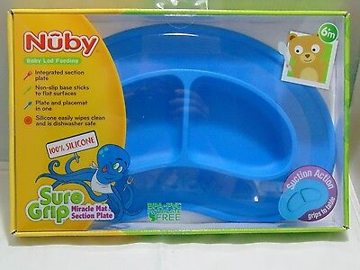 Nuby Sure Grip Miracle Mat Section Plate - Blue- Suction Plate Infants, Toddlers