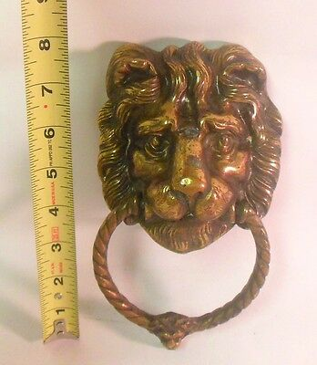 Vintage Brass LION Head DOOR Knocker Hook Animal Hardware