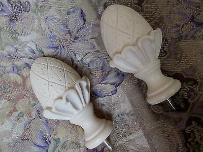 """FINIALS, Pair ~ 6"""" Cast Plaster PINEAPPLE ~ Neo Classical Curtain Rod Newel Post"""