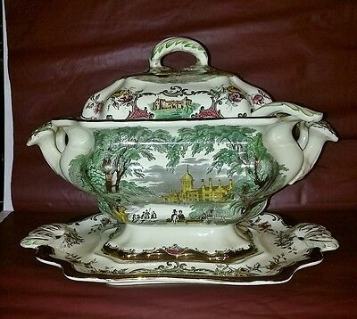 Antique Leeds English Ironstone Soup Tureen Under Plate and Ladle - EXC Heritage