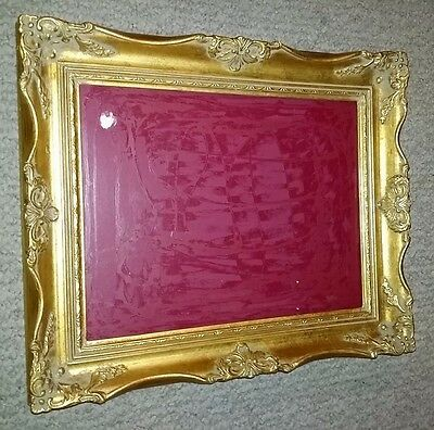 "Antique Victorian Gilt Gold Gesso Picture Painting Frame Carved Wood 18"" x 15"""
