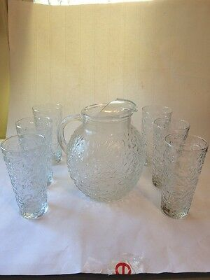Anchor Hocking Clear Lido Ball Pitcher and 6 Glasses