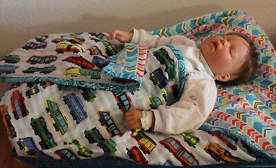 Handmade Reversible Double Flannel Baby Boy Machine Quilted Blanket/Quilt