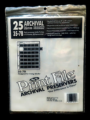 Print File Archival 35mm Negative Preservers 35-7B Pack of 25 New In Package