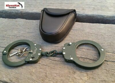 NEW CHAINED Handcuffs GREEN STEEL Double Lock REAL Hand Cuffs Case Keys Police