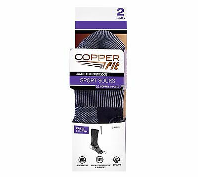 Copper Fit Crew Length Sport Socks 2 Pair Black