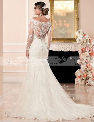 Long Sleeve White/ivory Mermaid Lace Wedding Dress Bridal Gown Custom all Size