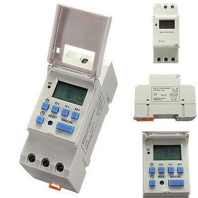 DIN Rail Mounting Digital LCD Programmable Timer DC 12V 16A Time Relay Switch