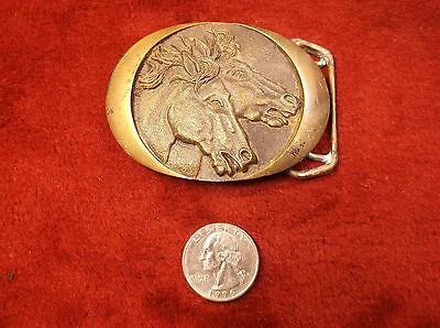 Artistic Vtg 1982 Solid Brass Western Belt Buckle With Double Horse Head Profile