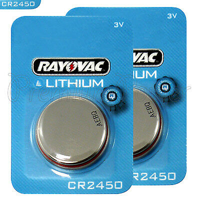 2 x Rayovac CR2450 batteries Lithium 3V Coin cell Watch ERC2450 BR2450 EXP:2022