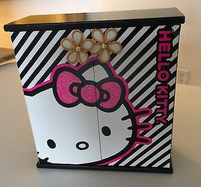 """Hello Kitty Jewelry Wooden Box Trinket  7"""" SANRIO SEE Spinner Cabinet"""