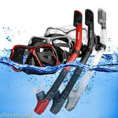 Diving Goggles Snorkel Set with Tempered Glass Diving Mask and Dry Snorkel