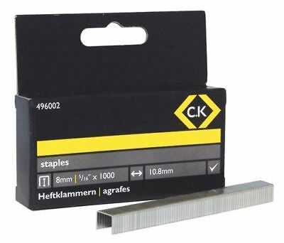 CK Staples for T6227, Arrow T50, Rapid 140 - 10.5mm Wide x 8mm Deep 1000 pcs