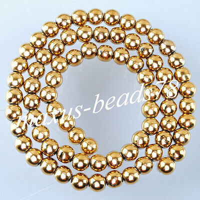 "Gold Hematite Gemstones 6mm Round Loose Beads 15.5"" for Jewelry making MG1013"