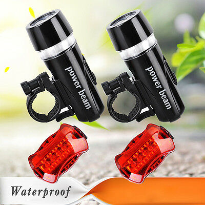 2 x 5 LED IP68 Lamp Bike Bicycle Front Head Light + Rear Safety Flashlight Set