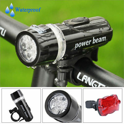 5 LED IP68 Lamp Bike Bicycle Front Head Light + Rear Safety Flashlight Set