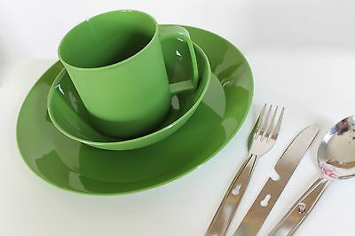 Camping Dinner Cutlery Set for 1 Person Plastic Plate Bowl Mug Fork Knife Dining