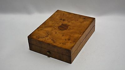 """Antique Jewelry Pocket Watch Box Burl Veneer with Hand Embroidery """"A"""" on Inside"""