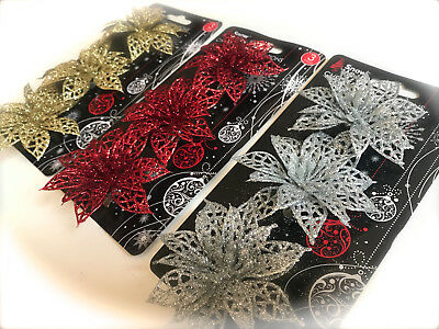 4 Glitter Christmas Decorations Poinsettias Flowers Gold Silver Red Xmas Garland