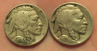 1927 & 1928-S Buffalo Nickels Silver Coins Nice Detail