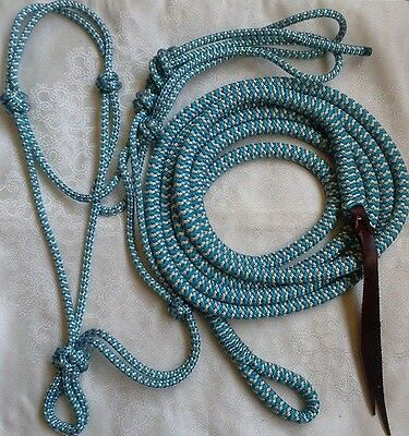 Blue/Beige Zig Zag Rope Halter & 14ft Lead with Loop Set - Choice of size