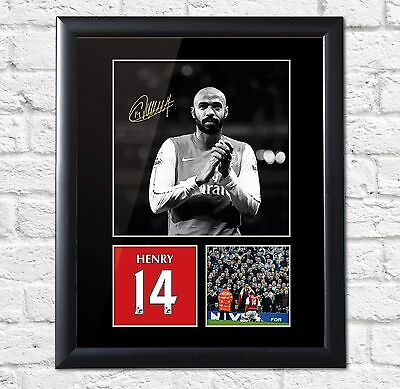 Thierry Henry Signed FRAMED Mounted Photo Display Arsenal FC