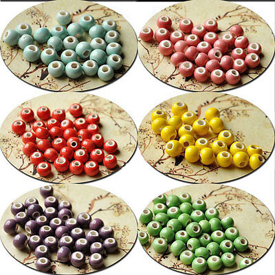 50Pcs Round Ceramic Porcelain Loose Spacer Beads Charms 6 8 10 12mm 9-Colors