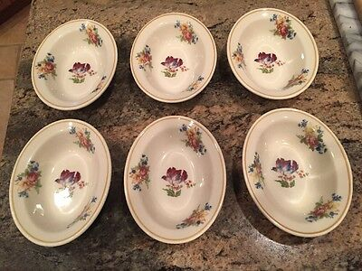 6 Small Oval Restaurant Ware Side Dishes Syracuse China Floral 11-CC USA Bowls