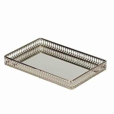 "New CGI Vanity Gallery Tray with Mirror Nickel Plated 11"" X 7"""