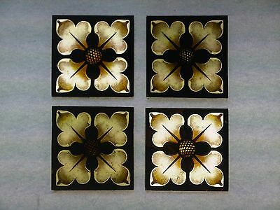 Beautiful Stained glass.FLOWERS.Hand painted .Kiln fired. 75 x 75 mm, New.