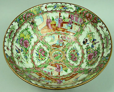 Antique Chinese Famille Rose Canton Porcelain Punch Bowl C.1900