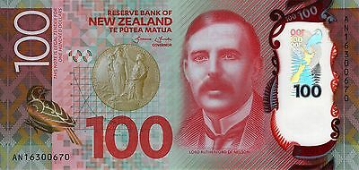 2016 New Zealand $100 One Hundred dollars banknote UNC
