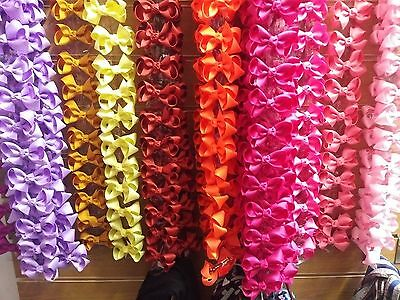 Job Lots of Girls Hair Clips Bows Coloured Ribbon Brand New Resale Sets 12 Pcs