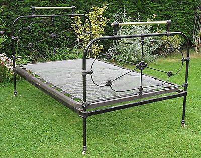 French Brass with Iron Small Double Bed with Spring Base
