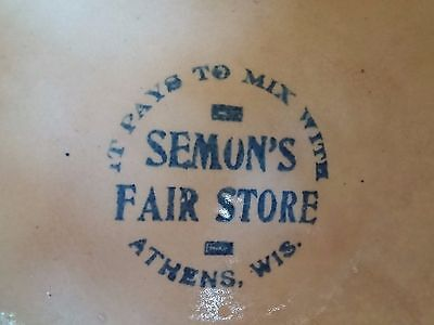 "Antique Red Wing Saffron Ware Advertising Bowl 8"" Semon's Fair Store Athens Wis."