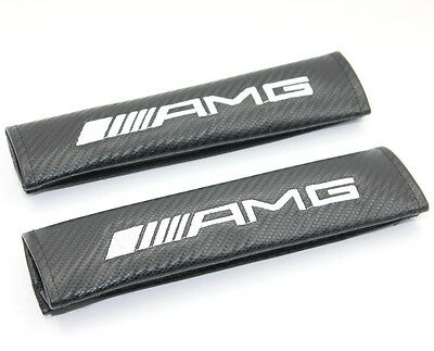 2x AMG Carbon Fiber Seatbelt Pads Shoulder Safety Seat Belt Pad Cover , UK Stock
