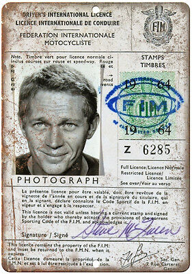 """Steve McQueen Motorcycle License RARE10"""" x 7"""" reproduction metal sign"""