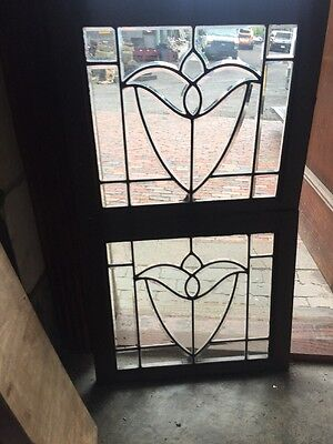 Sg 1499 Match Pair Antique All Beveled Glass Tulip Windows 21.5 H By 24.5 W