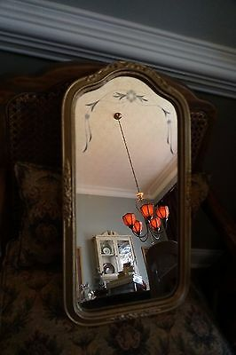"Antique 1920's Etched Wall Mirror with Gold Wood Frame~21 1/2"" long x 11"" wide"