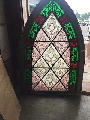 Sg 1500 Antique Gothic Arch Painted And Fired Window 20 4W By 30 6H