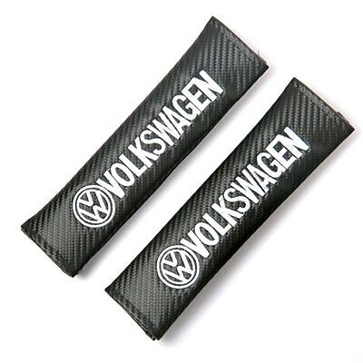 2x VW Volkswagen Carbon Fiber Seatbelt Pads Shoulder Safety Seat Belt Pad Cover