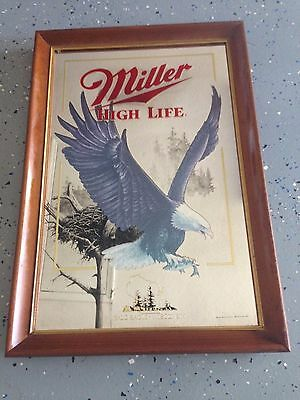 Miller High Life Mirror Beer Sign - BALD EAGLE (Wisconsin)