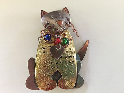 Copper Brass Silver Tone Mixed Metal Cat Pin Brooch with Heart