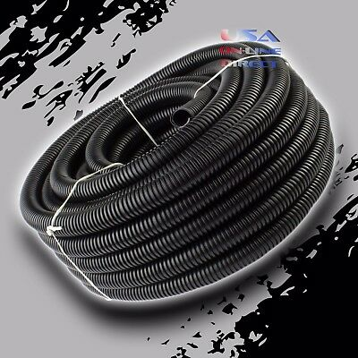 "100Ft 1/2"" Marine Grade Conduit Car Home Tubing Split Wire Loom Black Sleeve USA"