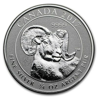 2017 3/4 oz Canadian Silver Big Horn Sheep Coin Reverse Proof