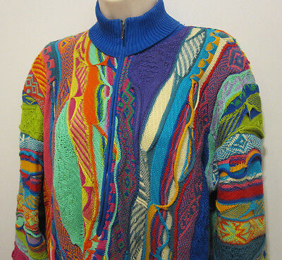 VTG COOGI Sweater 3D Woven Pull Over 1/2 Zip HipHop Multi-Color Tunic Australia